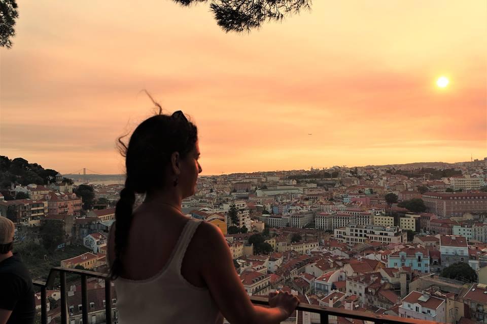 Atardecer en el Mirador do Castelo, Lisboa