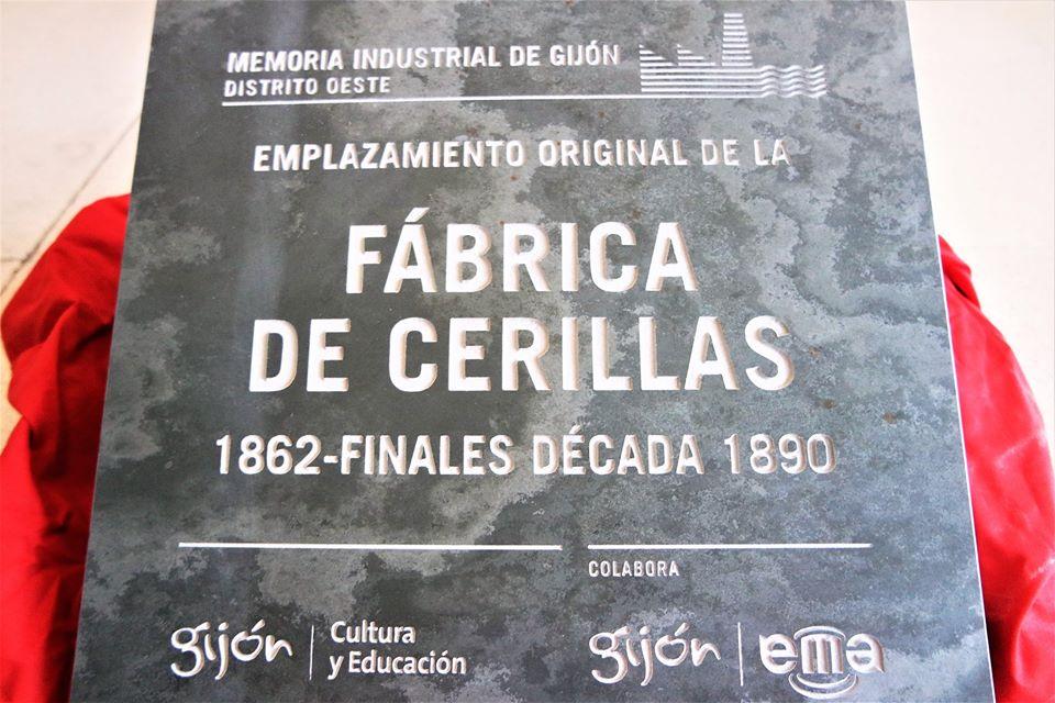Placa, fábrica de Cerillas en Gijón