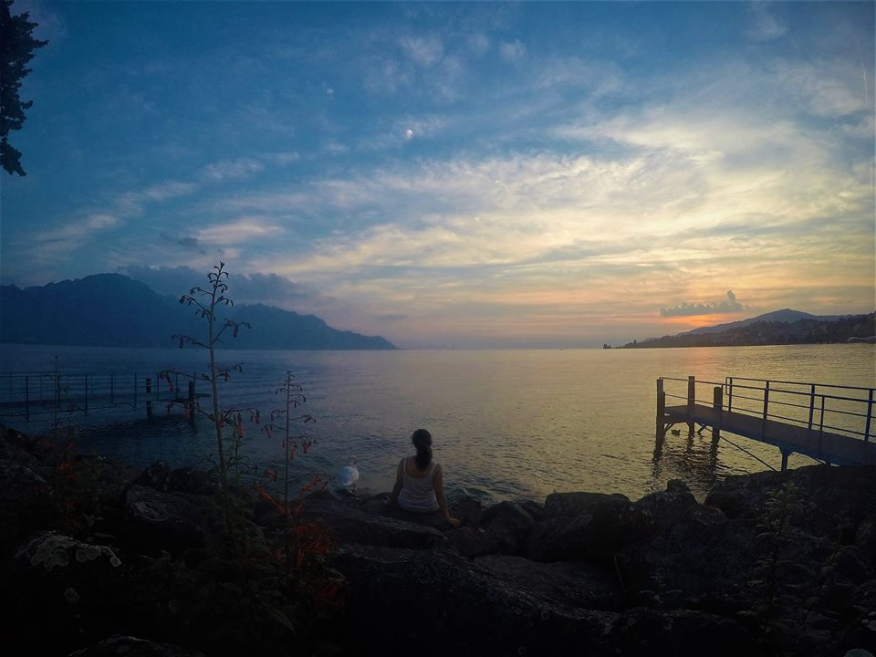 Atardecer en el lago Lemán, Montreux