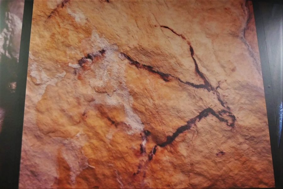 Sala de Hércules, panel a la entrada de la Cueva de Nerja