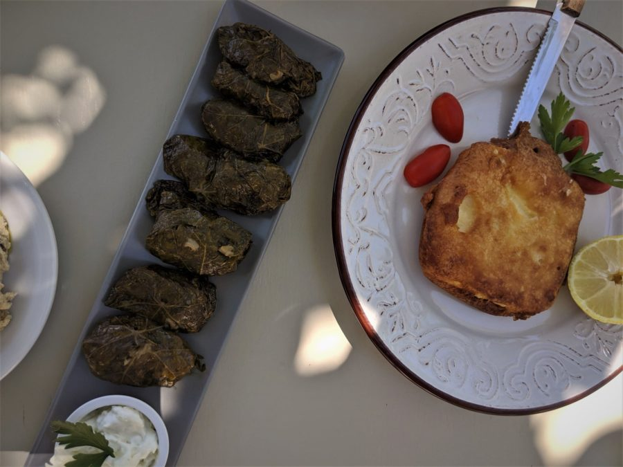 Entrantes griegos, dolmades y queso frito