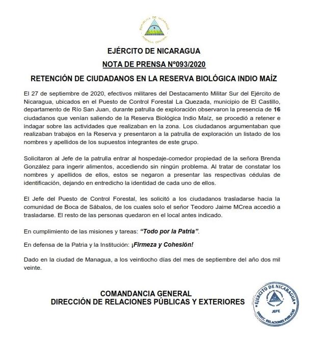 Comunicado del Ejército de Nicaragua sobre la retención de líderes Rama Kriol.