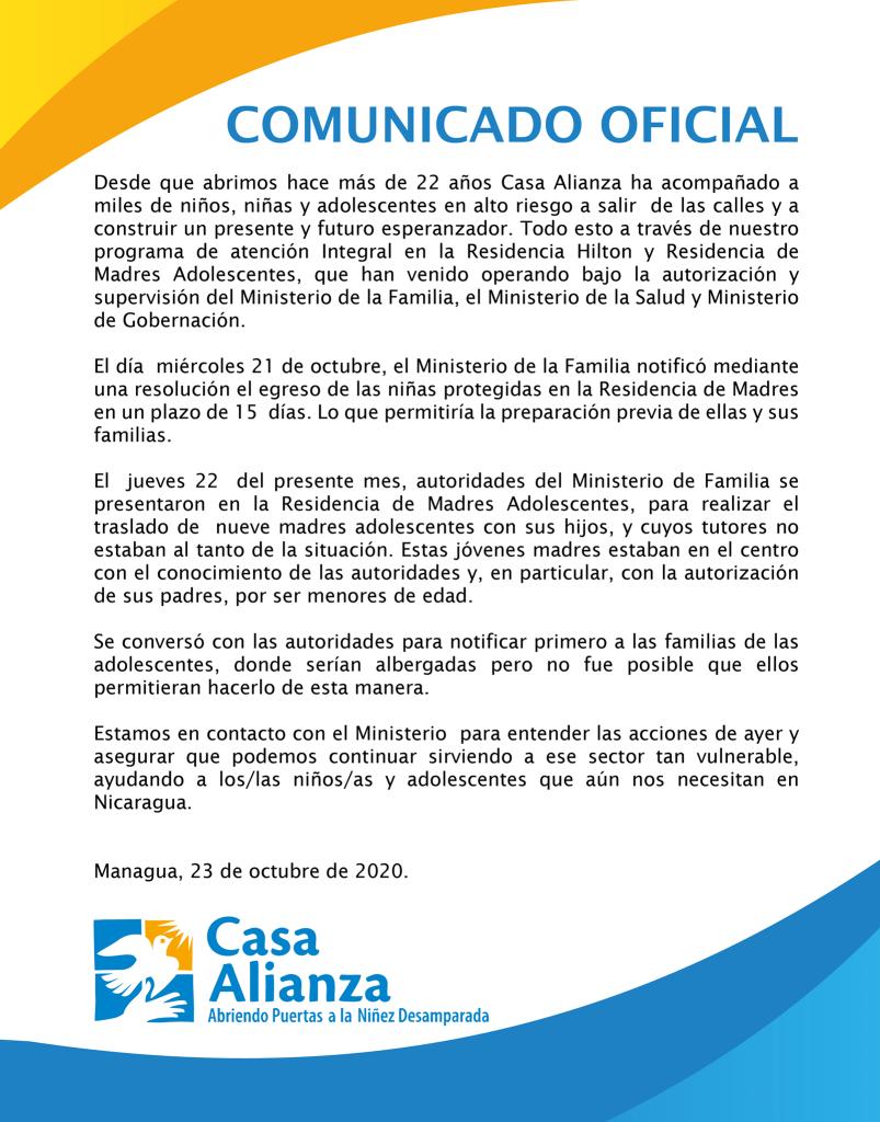 Comunicado oficial Casa Alianza, 23 de octubre 2020