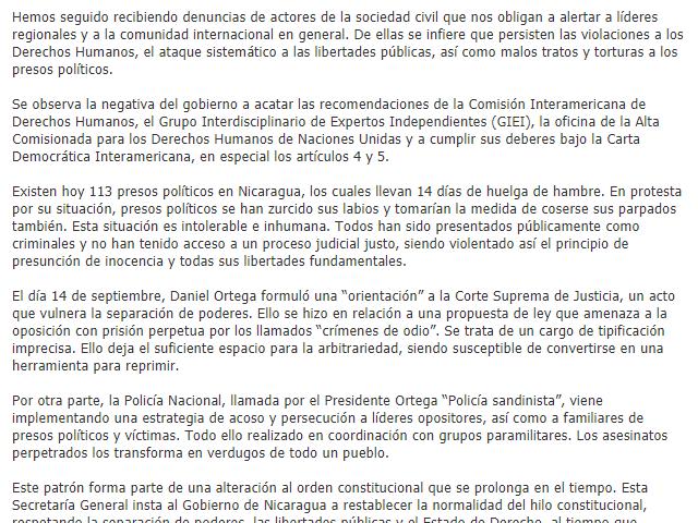 Comunicado de Prensa, OEA