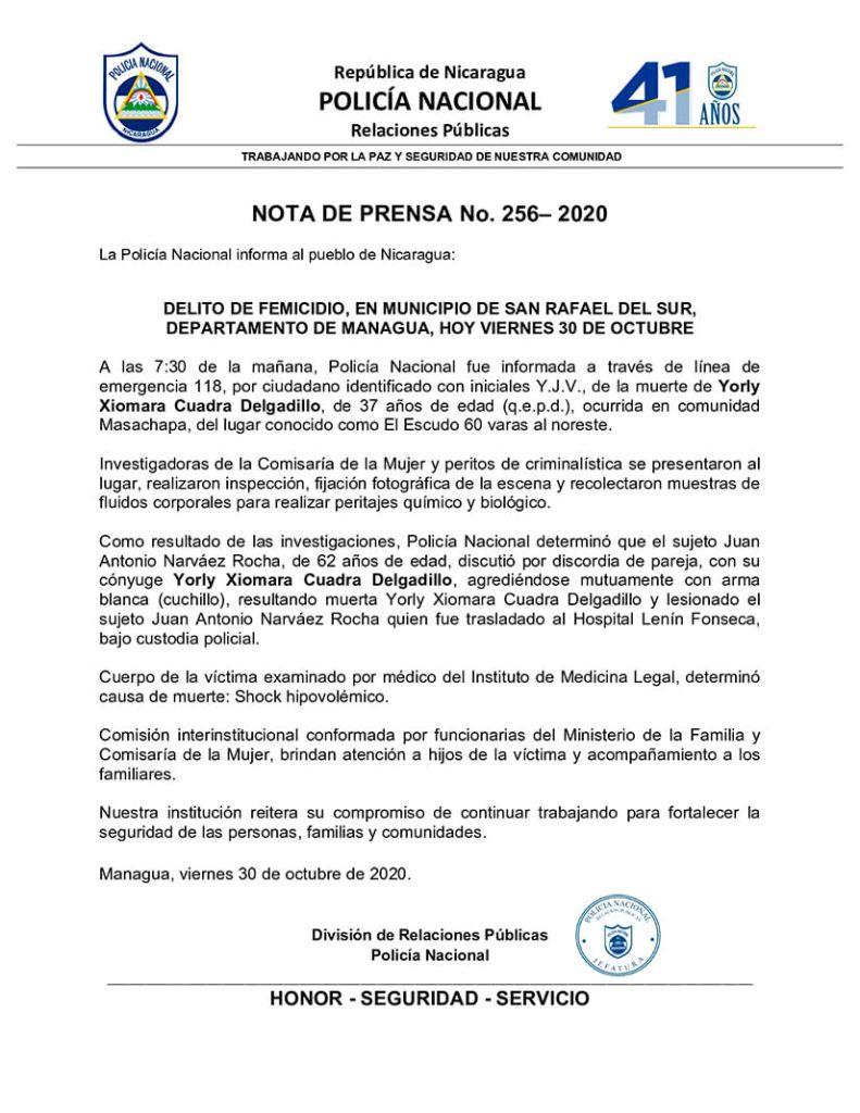 Nota de prensa de la policía del 30 de octubre 2020 No. 256 - 2020.