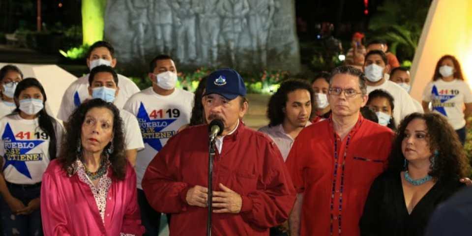 Daniel Ortega durante el acto, homenaje a Carlos Fonseca