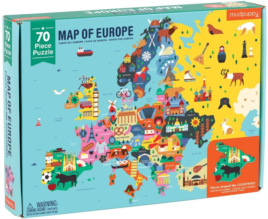 Puzzle Carte d'Europe, 70 pcs, Mudpuppy