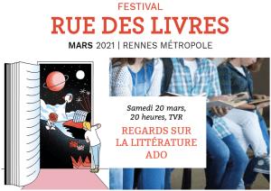 Samedi 20 mars, à 20h, Rue des Livres sur TVR, Regards sur la littérature ado