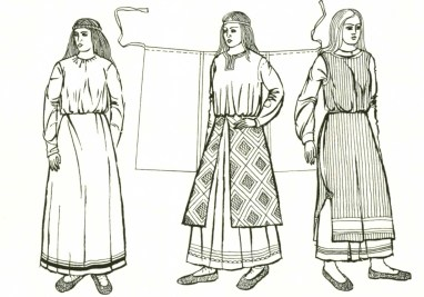 Women's shirt in Ancient Rus', 10th – 13th centuries. Worn alone, with a pan'ova and with a zanaviska. From History of Ukrainian Costume