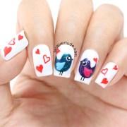 valentine day love birds nail