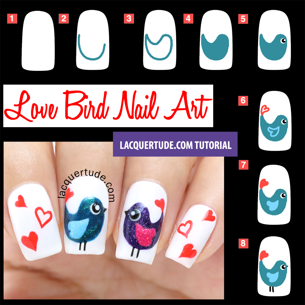 Lacquertude Valentines Love Birds Nail Art Tutorial