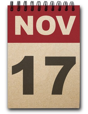 17 November calendar on recycle paper