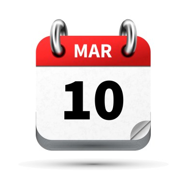Bright realistic icon of calendar with 10 march date on white