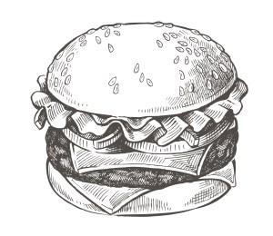 vector hand drawn hamburger
