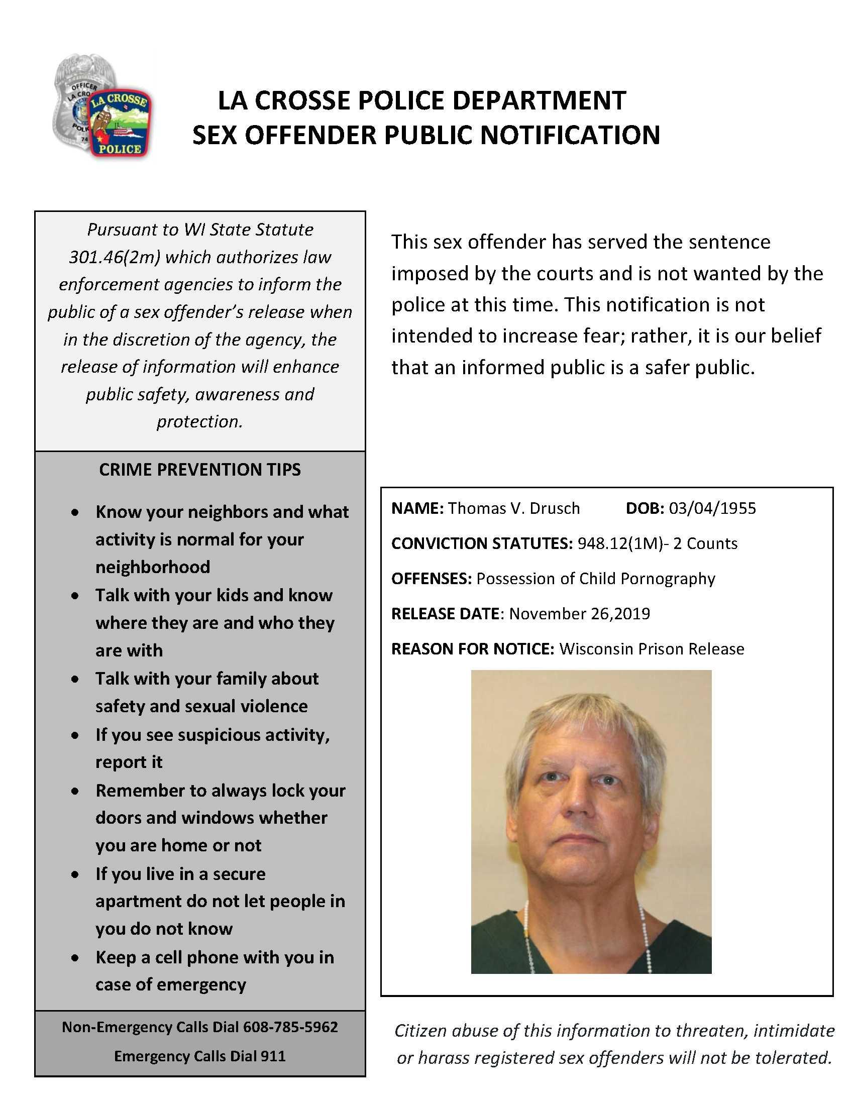 Sex Offender Registry Mn Map : offender, registry, Offender, NotificationLa, Crosse, Newsroom