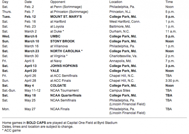 2013 maryland lacrosse schedule