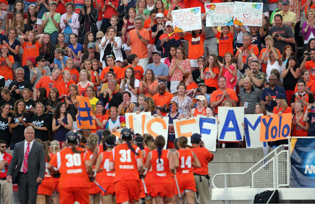 May 27, 2012; Stony Brook NY, USA; Syracuse Orange fans show support before the first half of the 2012 NCAA Division 1 Womens Lacrosse Championship against the Northwestern Wildcats at LaValle Stadium. Mandatory Credit: Anthony Gruppuso-USA TODAY Sports
