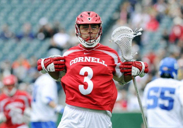 May 25, 2013; Philadelphia, PA, USA; Cornell Big Red attackman Rob Pannell (3) reacts after scoring a goal against the Duke Blue Devils during the first quarter of the 2013 NCAA Division I men's lacrosse semifinals at Lincoln Financial Field. Mandatory Credit: Rich Barnes-USA TODAY Sports