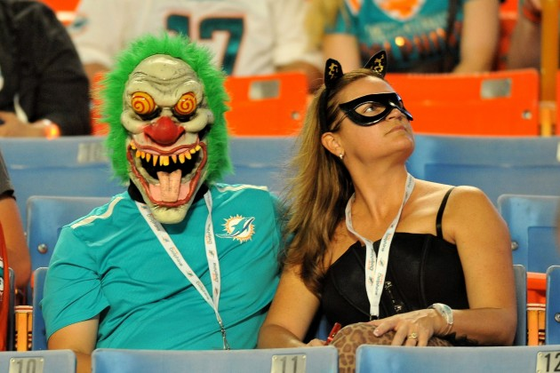 Oct 31, 2013; Miami Gardens, FL, USA; Miami Dolphins fans dress up for halloween before a game between the Cincinnati Bengals and the Miami Dolphins at Sun Life Stadium. Mandatory Credit: Steve Mitchell-USA TODAY Sports