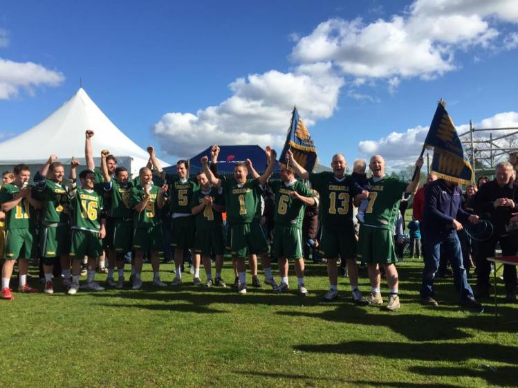 Cheadle celebrating their Flags Final triumph last year