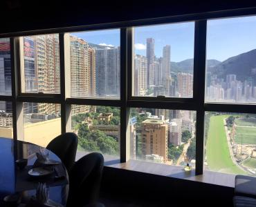 Causeway Bay upstairs restaurant with full racecourse view