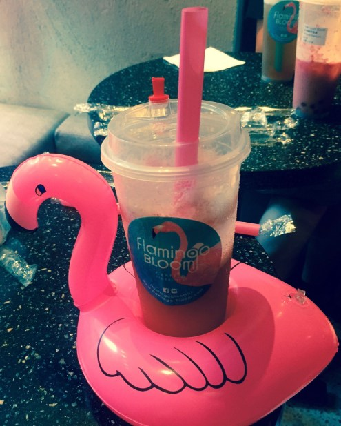 Floral Tea sits in a pink plastic flamingo which brings fun to a simple drink