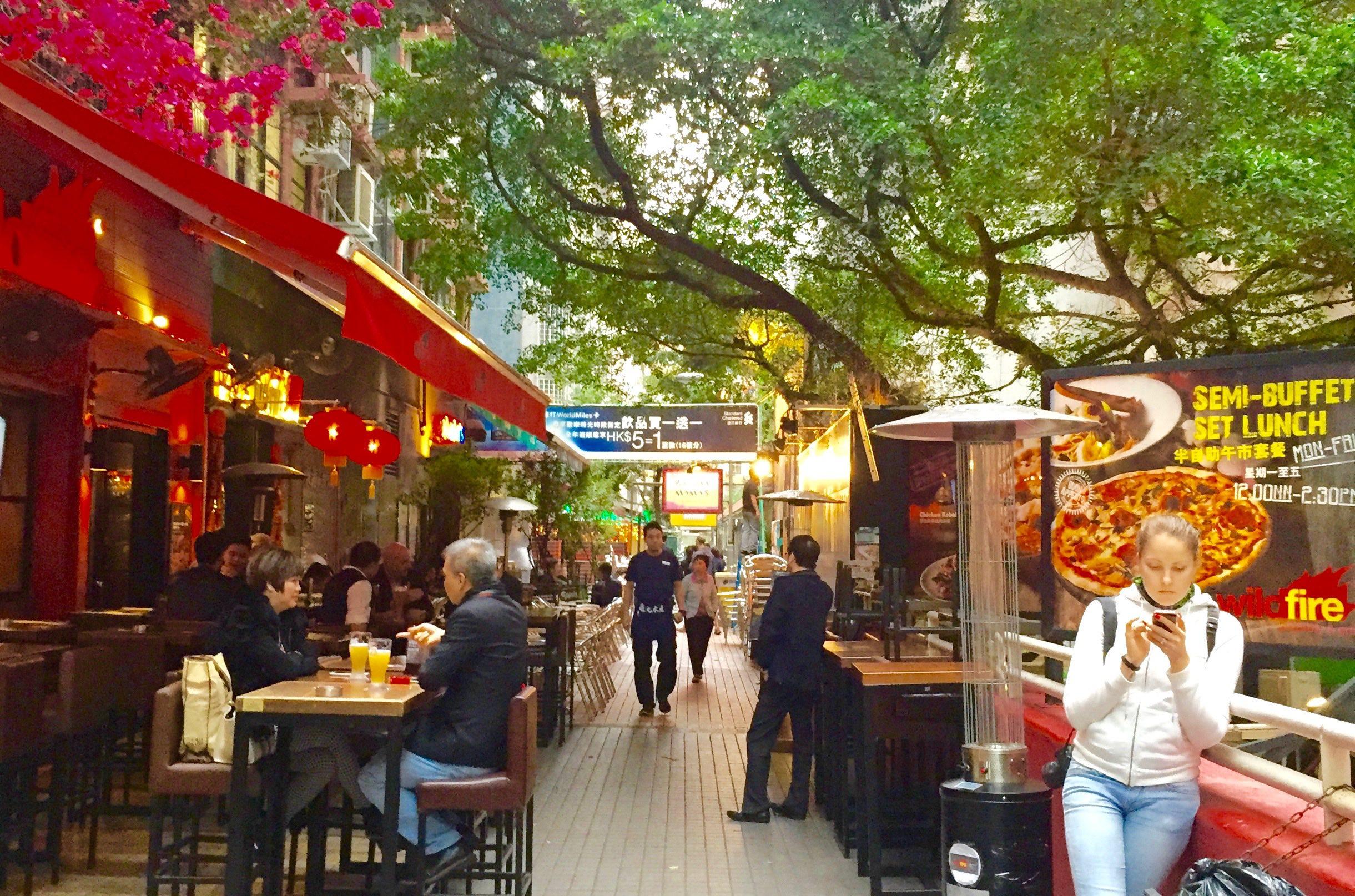 Tsim Sha Tsui Krutsford Terrace - a foodie and bar street around Observatory Road