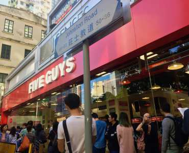 Wan Chai Corner Restaurant & Bar Space for rent close by Five Guys HK
