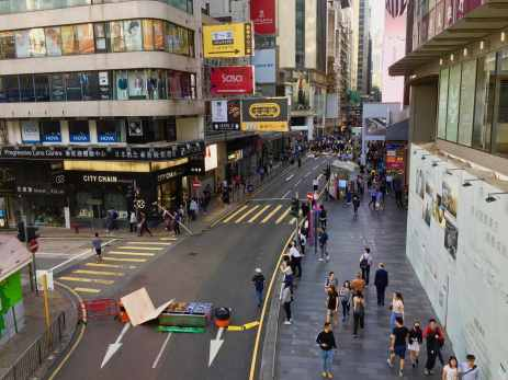 Roadblock by protesters in Central Hong Kong