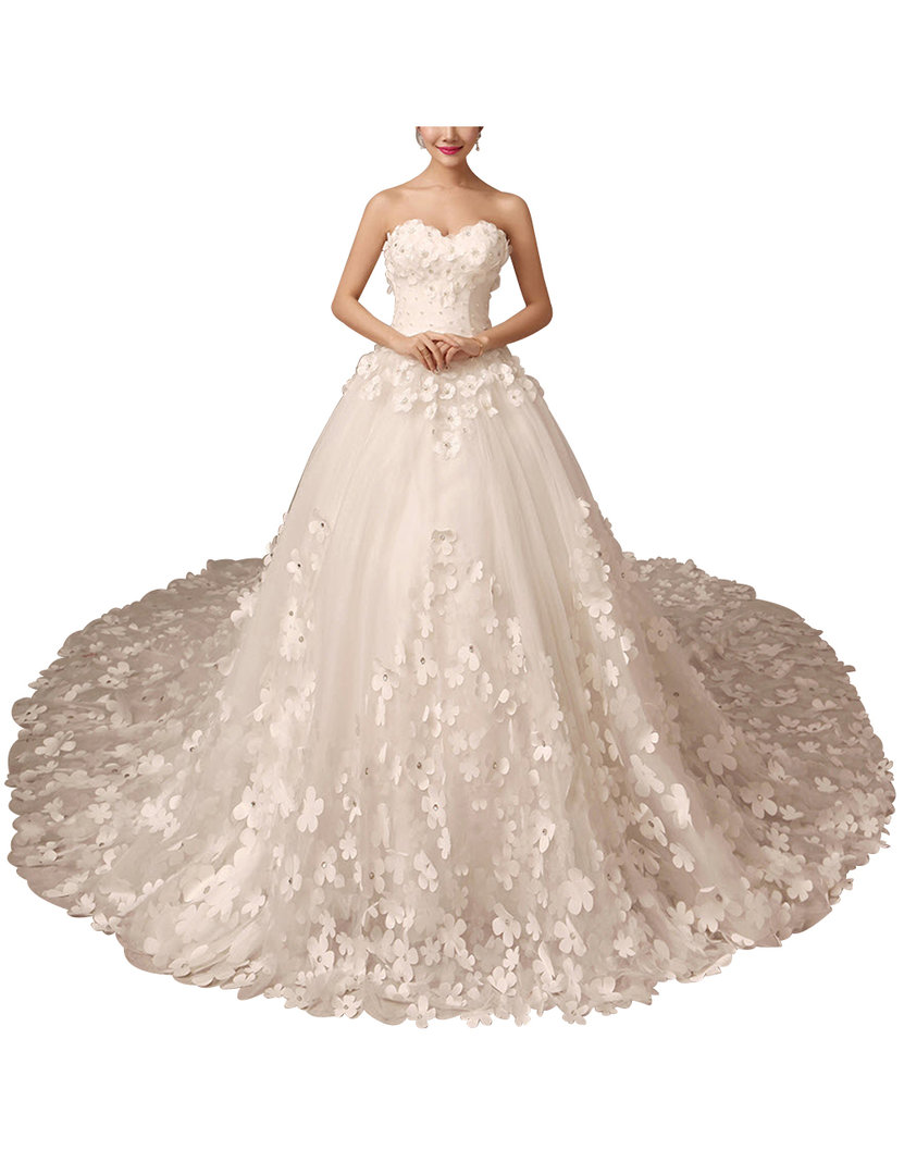 Prinzessin Brautkleid Mit Herz Ausschnitt Schleppe 3D Blüten