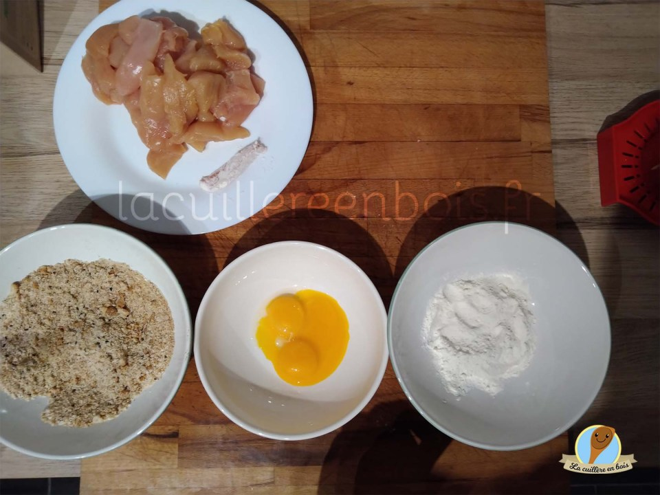 nuggets de poulet et frites de légumes  pauvres en matière grasse