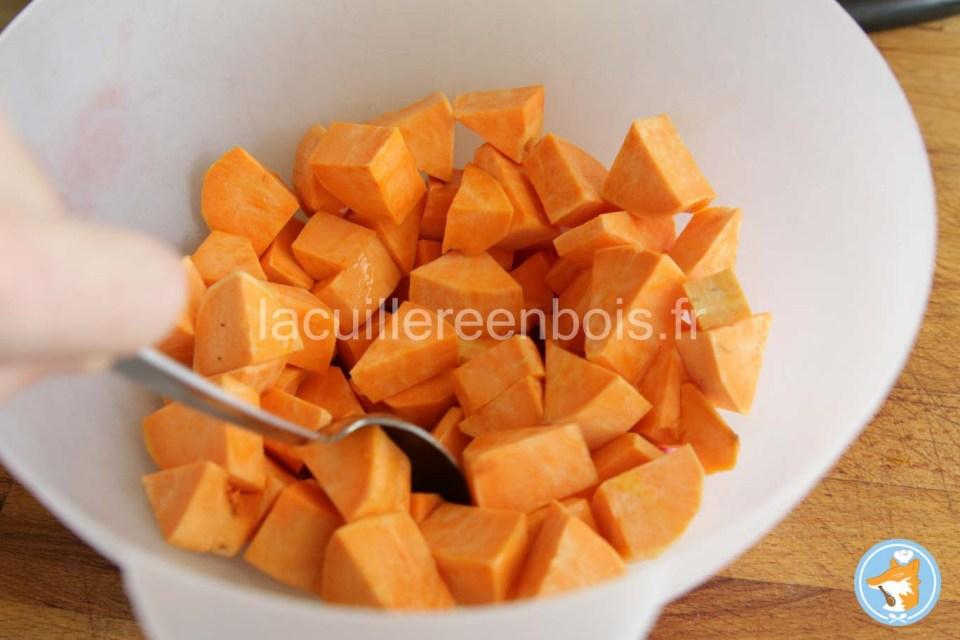 huiler les patates douces