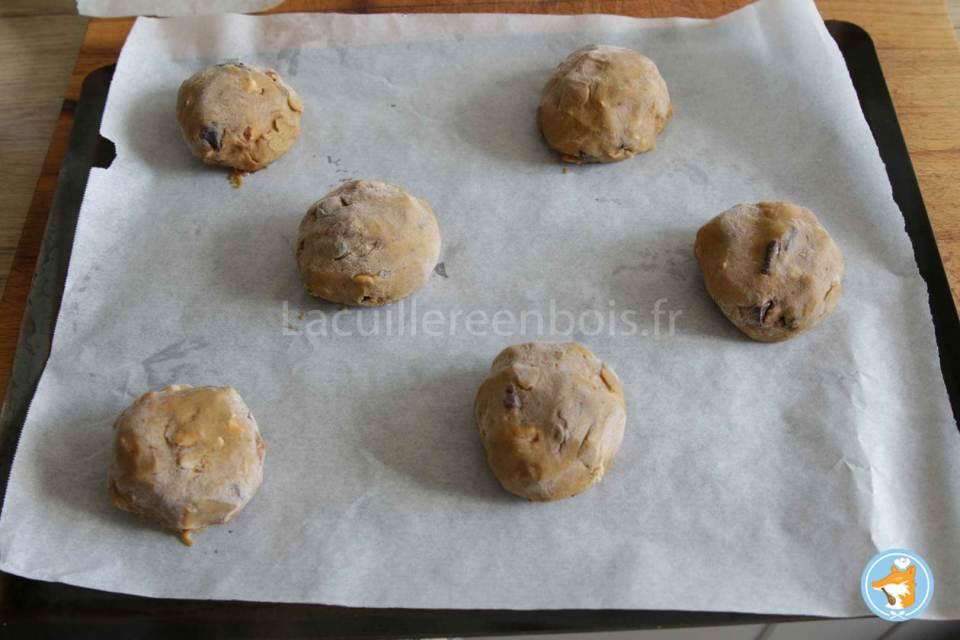 recette de cookies détaillée avec photo et cœur coulant au gianduja