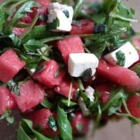 Salade de pastèque, feta et basilic (et un soupçon de Crête)