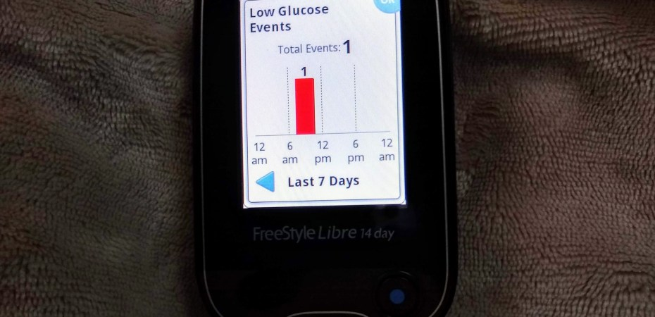 Picture of Freestyle Libre showing low glucose events
