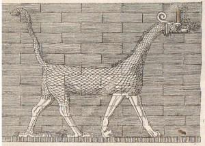 """Dragon de Mardouk sur la porte d'Ishtar - D'après Koldewey."""
