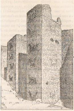 """La porte d'Ishtar à Babylone - D'après Koldewey."""