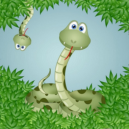 """""""Funny snakes in leaves."""""""