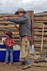 McCoy and Eamon working the chute