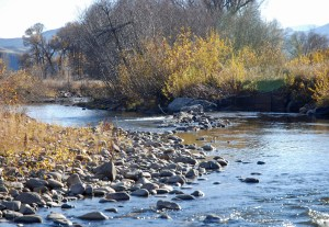 Rock structure in Battle Creek--helping out both fish and irrigation