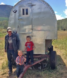 Jean Carlos, Rhen and Tiarnan at the sheep camp
