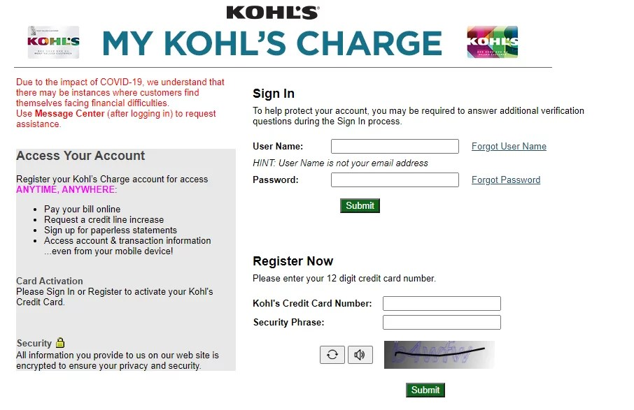 kohls.com is the retail website for kohl's department store, where you can shop and order clothing and other products. Credit Kohls Com Manage Your Kohl S Charge Credit Card Account Ladder Io