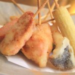 Enjoy seafood fried with fresh cherry skewers daily lunch