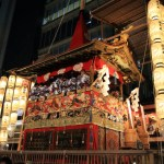 One of the three great festivals of Japan naginata halberd yoiyama people go at the beginning of the Gion Festival yamahoko procession