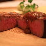 Aging beef sauteed in GLION STEAK HOUSE wood