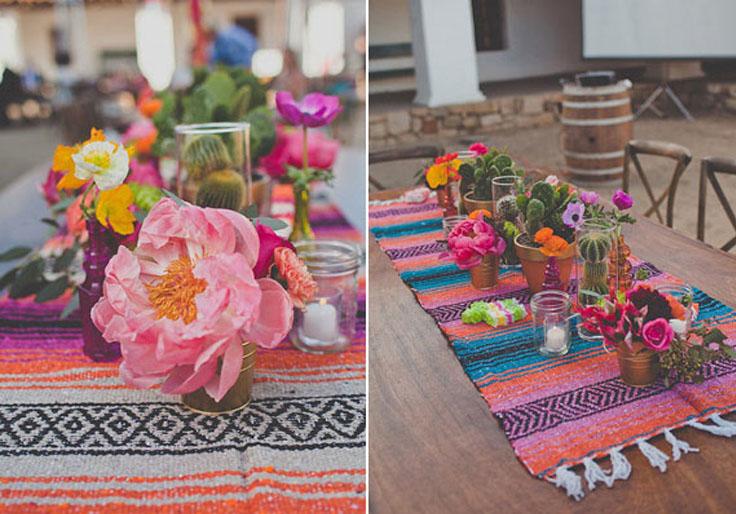 mexicain décors ,centre table motif mexicain, bouquet