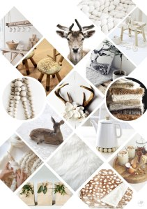 Mood board cerf blanc