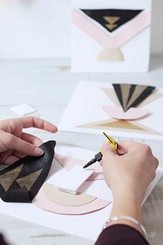 details colle DIY géométrique dorée