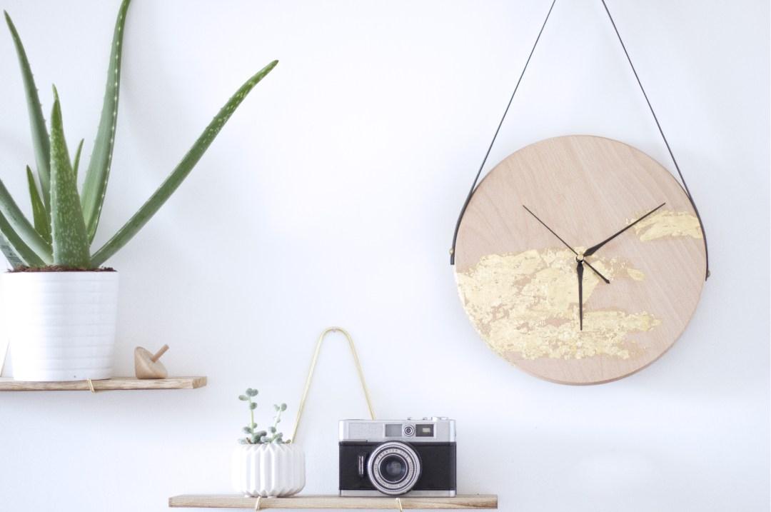 Création handmade horloge suspendue dorée, DIY la délicate parenthèse blog DIY deco