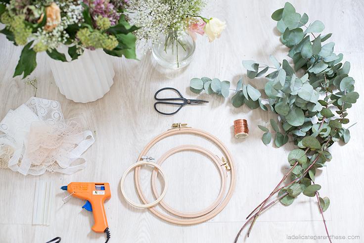 création DIY blog déco couronne de fleur fanées outils nécessaires